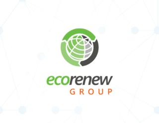EcoRenew Green and Black and Orange Logo, Mobilise Blue Nodes Background