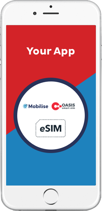 Mobilise and Oasis eSIM app, red and blue, in a iphone white phone frame