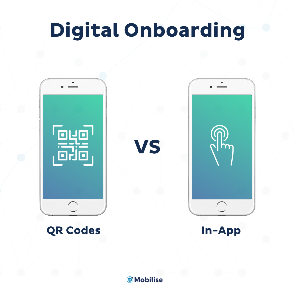 Digital Onboarding - OR codes VS In-App Two phones one with QR Code the other one showing in-app activation